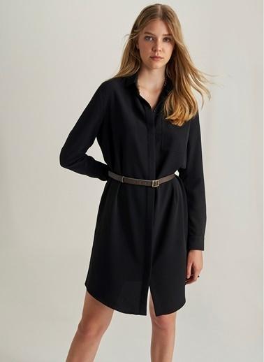 NGSTYLE Kemerli Gömlek Elbise Siyah